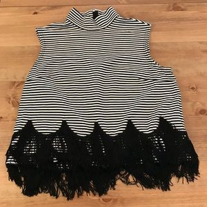 Marc Jacobs Tops - Marc Jacobs Fringe Black and White Stripes Top
